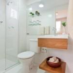 Gabinete moderno para lavabo com saia e prateleira